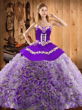 Great Multi-color Ball Gowns Sweetheart Sleeveless Satin and Fabric With Rolling Flowers With Train Sweep Train Lace Up Embroidery Sweet 16 Quinceanera Dress