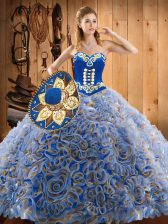 Free and Easy Sleeveless Sweep Train Lace Up With Train Embroidery Quinceanera Gowns