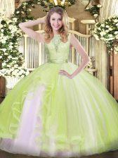 Scoop Sleeveless Backless 15th Birthday Dress Yellow Green Organza
