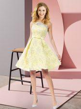 Yellow A-line Bowknot Quinceanera Dama Dress Zipper Lace Sleeveless Knee Length