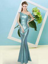 Aqua Blue Sequined Zipper Homecoming Dress Sleeveless Floor Length Sequins