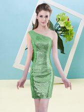 Smart Green Zipper One Shoulder Sequins Homecoming Dress Sequined Sleeveless