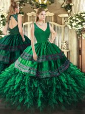 On Sale Organza V-neck Sleeveless Zipper Beading and Ruffles Quince Ball Gowns in Dark Green