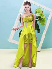 Yellow Prom and Party with Beading and Sequins One Shoulder Sleeveless Lace Up