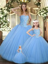 Romantic Baby Blue Ball Gowns Tulle Sweetheart Sleeveless Beading Floor Length Lace Up Quinceanera Gowns