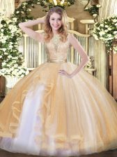 Decent Champagne Scoop Neckline Lace and Ruffles Sweet 16 Quinceanera Dress Sleeveless Backless