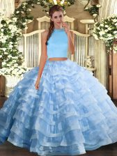 Spectacular Light Blue Halter Top Neckline Beading and Ruffled Layers Sweet 16 Dresses Sleeveless Backless