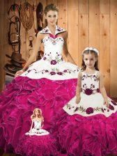 Ball Gowns 15th Birthday Dress Fuchsia Halter Top Tulle Sleeveless Floor Length Lace Up