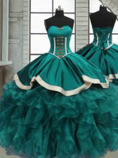 Flare Floor Length Lace Up Quinceanera Gown Teal for Sweet 16 and Quinceanera with Beading and Ruffles