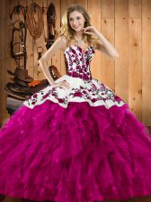 Classical Fuchsia Lace Up Quinceanera Gown Embroidery and Ruffles Sleeveless Floor Length