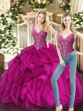 Free and Easy Fuchsia Sleeveless Floor Length Ruffles Lace Up Quinceanera Gown