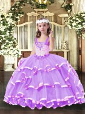 Organza Straps Sleeveless Lace Up Beading and Ruffled Layers High School Pageant Dress in Lilac