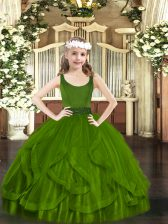 Olive Green Sleeveless Tulle Zipper Girls Pageant Dresses for Party and Quinceanera