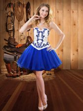 Noble Royal Blue Evening Dress Prom and Party with Embroidery Strapless Sleeveless Lace Up