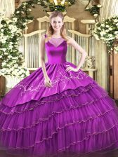 Purple 15th Birthday Dress Sweet 16 with Beading and Embroidery Scoop Sleeveless Side Zipper