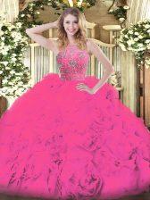 Hot Pink Tulle Zipper Sweet 16 Dresses Sleeveless Floor Length Beading and Ruffles