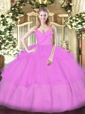 Lilac Zipper Spaghetti Straps Ruffled Layers Quinceanera Dress Organza Sleeveless