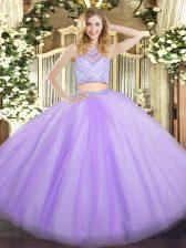 Super Floor Length Lavender 15th Birthday Dress Tulle Sleeveless Beading