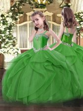 Green Tulle Lace Up Straps Sleeveless Floor Length Little Girls Pageant Gowns Beading and Ruffles
