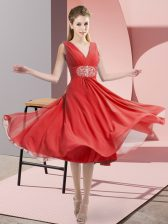 V-neck Sleeveless Damas Dress Knee Length Beading Coral Red Chiffon