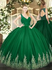 Dark Green Sleeveless Beading and Lace and Appliques Floor Length 15th Birthday Dress