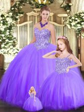 Eggplant Purple Ball Gowns Sweetheart Sleeveless Tulle Floor Length Lace Up Beading Quinceanera Dress