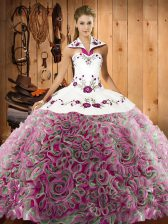 Flirting Halter Top Sleeveless Quinceanera Gown Sweep Train Embroidery Multi-color Fabric With Rolling Flowers