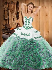 Elegant Multi-color Lace Up Sweet 16 Dress Embroidery Sleeveless With Train Sweep Train