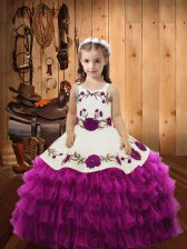 Sleeveless Embroidery and Ruffled Layers Lace Up Kids Pageant Dress