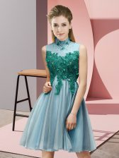 Custom Fit Aqua Blue Tulle Lace Up Court Dresses for Sweet 16 Sleeveless Knee Length Appliques
