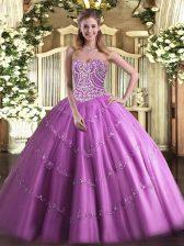 Lilac Sleeveless Beading Floor Length Ball Gown Prom Dress