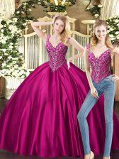 Beading Sweet 16 Dresses Fuchsia Lace Up Sleeveless Floor Length