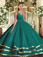 Spectacular Turquoise Sleeveless Ruffled Layers Floor Length Quinceanera Dress