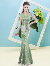 Ideal Green Cap Sleeves Sequins Floor Length Prom Party Dress