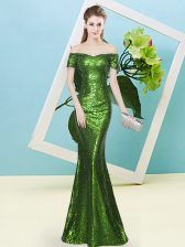 Sequined Zipper Off The Shoulder Short Sleeves Floor Length Dress for Prom Sequins
