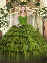 Dramatic Olive Green V-neck Neckline Beading and Lace and Ruffled Layers 15 Quinceanera Dress Sleeveless Backless
