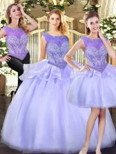 Flare Lavender Sleeveless Beading Floor Length 15 Quinceanera Dress