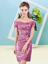 Fuchsia Short Sleeves Sequined Zipper Dress for Prom for Prom and Party