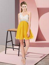 Suitable Gold Criss Cross One Shoulder Beading Homecoming Dress Chiffon Sleeveless