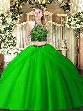 Floor Length Two Pieces Sleeveless Green Sweet 16 Quinceanera Dress Zipper