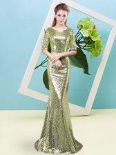 Exquisite Yellow Green Half Sleeves Floor Length Sequins Zipper Evening Dress