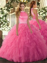 Sophisticated Hot Pink Backless Halter Top Beading and Ruffles Ball Gown Prom Dress Organza Sleeveless