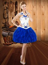Flare Royal Blue Sleeveless Organza Lace Up Evening Dress for Prom and Party