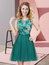 Beautiful Turquoise A-line Tulle Scoop Sleeveless Lace Mini Length Side Zipper Dama Dress