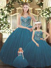 Sweetheart Sleeveless Tulle Sweet 16 Dress Beading Lace Up