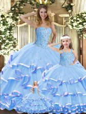 Superior Lavender Ball Gowns Beading and Ruffled Layers Ball Gown Prom Dress Lace Up Organza Sleeveless Floor Length