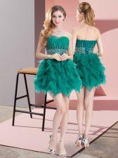 Graceful Green Lace Up Vestidos de Damas Beading and Ruffles Sleeveless Mini Length
