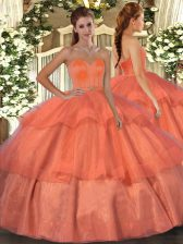 Sweetheart Sleeveless Quinceanera Gowns Floor Length Beading and Ruffled Layers Orange Red Organza