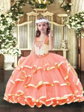Straps Sleeveless Lace Up Little Girls Pageant Dress Orange Red Organza