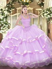 Customized Sleeveless Organza Floor Length Zipper 15 Quinceanera Dress in Lilac with Beading and Ruffled Layers